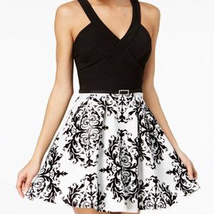 NWT Crystal Doll Black and White Fit Flare Dress